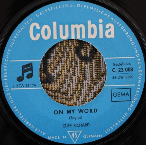 "Cliff Richard & The Shadows – On My Word 7"""