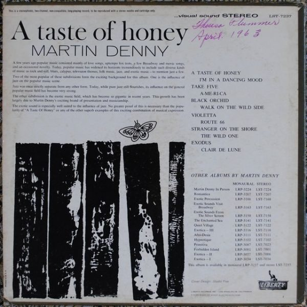 Martin Denny ‎– A Taste Of Honey