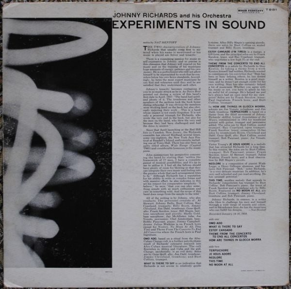 Johnny Richards ‎– Experiments In Sound