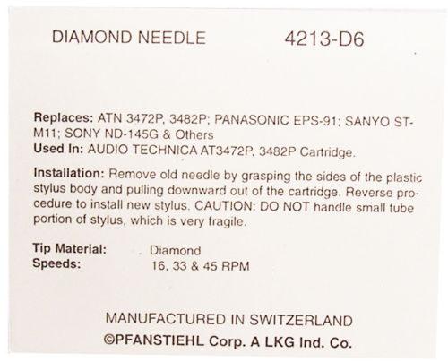 Игла Pfanstiehl для AUDIO TECHNICA DR300E DR 300E ATN3482P DUAL DN150