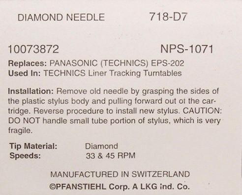 Игла Pfanstiehl для Technics EPS24CS EPS25CS SL3 SL5 SLB210 SLBD21 SLBD22 SLD3 718 AMBER