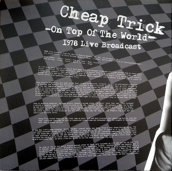 Cheap Trick – On Top Of The World - 1978 Live Broadcast ( 2 LP )