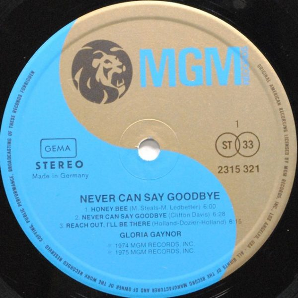 Gloria Gaynor ‎– Never Can Say Goodbye