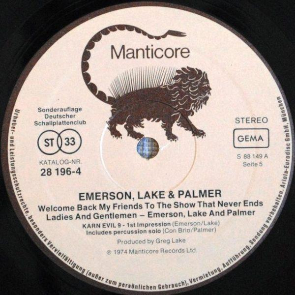 Emerson, Lake & Palmer ‎– Welcome Back My Friends To The Show That Never Ends - Ladies And Gentlemen