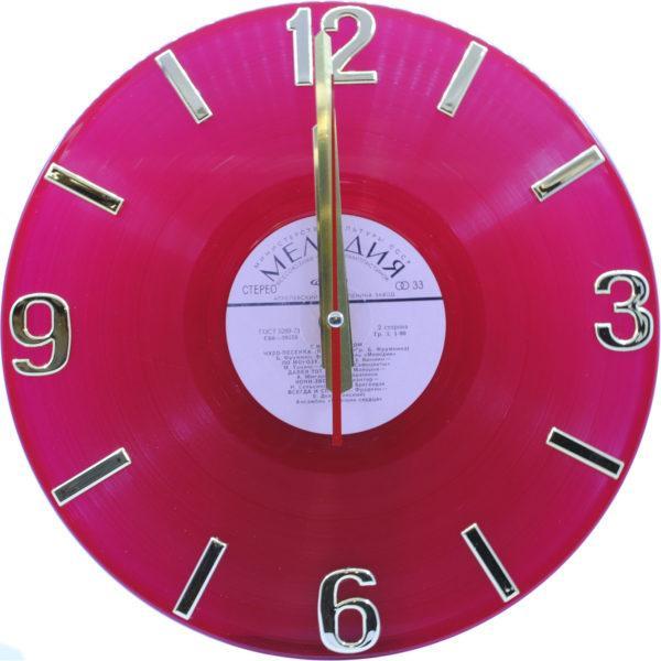 Часы на виниле розовые с золотом