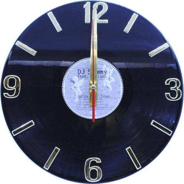 Часы на виниле чёрные с золотистым, пятак с ангелами