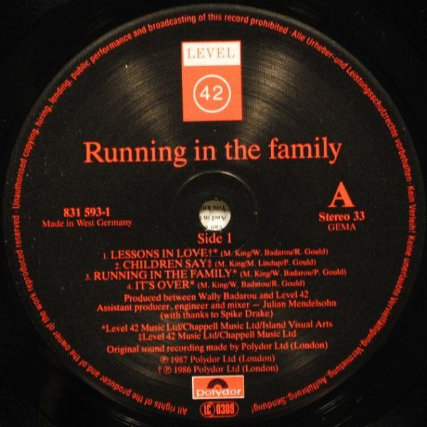 Level 42 ‎– Running In The Family
