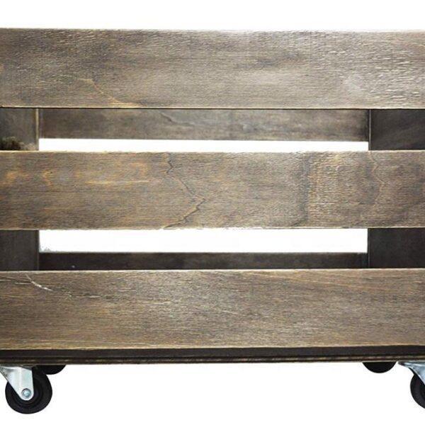 Деревянный ящик на колесах для хранения виниловых пластинок Wooden Crate For 100LPs