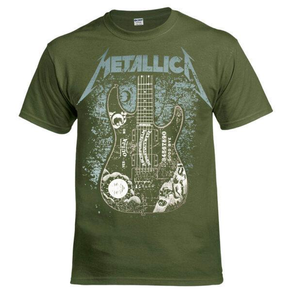 Футболка METALLICA Hammett Ouija Guitar оливковая