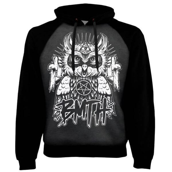 Толстовка реглан BRING ME THE HORIZON Owl Сова темно-серая