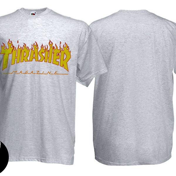 Футболка THRASHER Flame меланжевая
