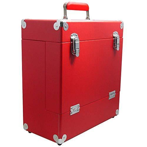 Красный кейс для хранения виниловых пластинок Wooden LP Vinyl Storage Case